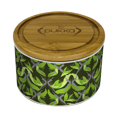 Pukka Supreme Matcha Green Ceramic Tea Caddy Filled