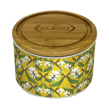 Pukka Turmeric Gold Ceramic Tea Caddy Filled