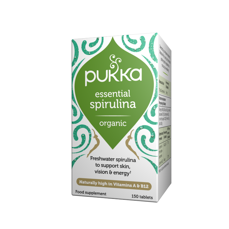 Pukka Herbs Organic Essential Spirulina Supplement x 150 Capsules