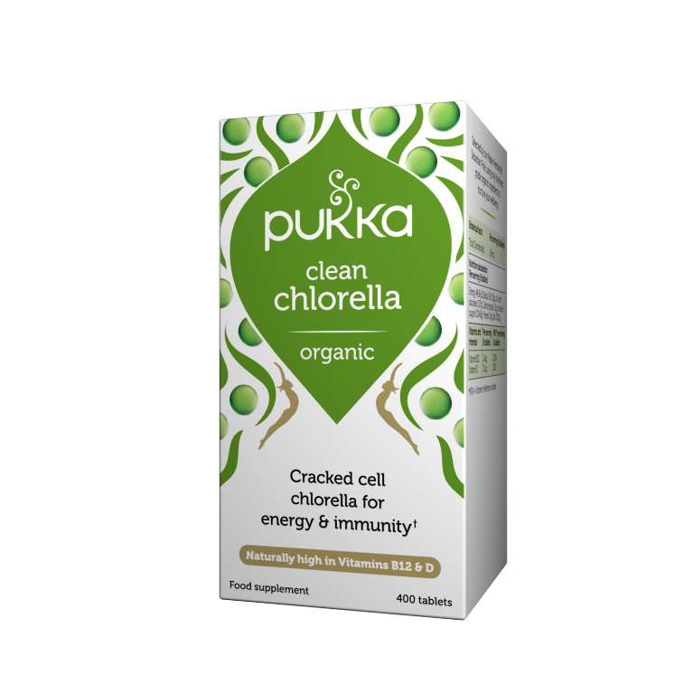 Pukka Herbs Organic Clean Chlorella Supplement x 400 Capsules
